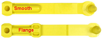 Image of smooth and flanged SET tags